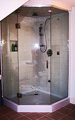 Lincolnville frameless neo angle steam shower