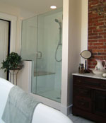 Frameless door and notched panel